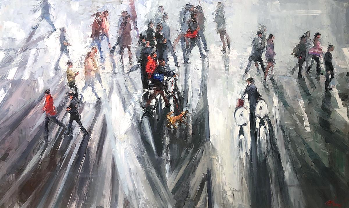 Crossing Street Oil Painting