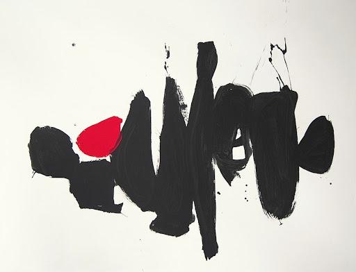 Brenda Heim Black & White Modern Form Acrylic & Sumi Ink on canvas 53 X 70